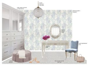 closet design board with text