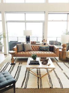 layered stripe rug